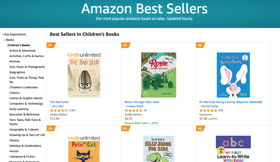 Amazon Best Sellers Page