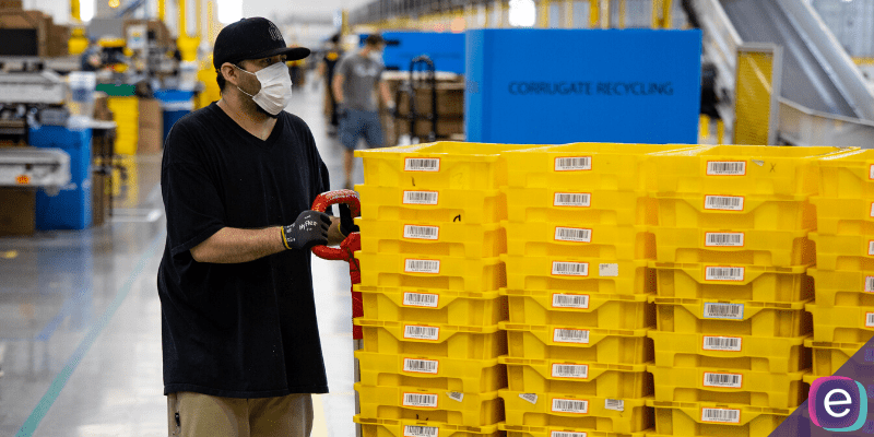 Amazon Fulfillement Center Worker wearing COVID face mask