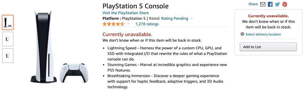Playstation 5 sold out on Amazon.com