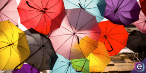 Colourful umbrellas on a sunny day